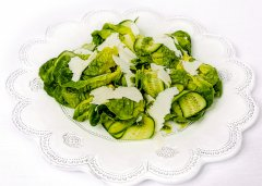 Baby Gem Salad with Cucumber Ribbons and Ricotta Salata