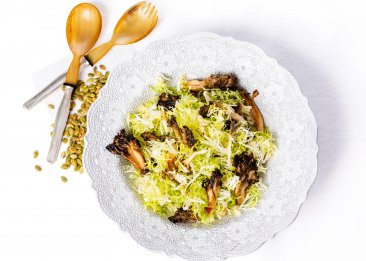 Frisee Salad with Hen of the Woods Mushrooms