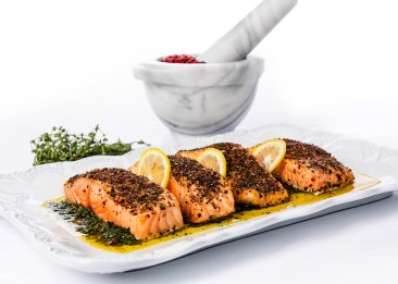Colored Peppercorn Encrusted Wild Salmon